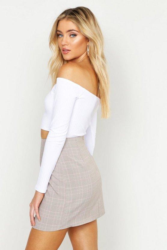 Tonal Check A Line Mini Skirt