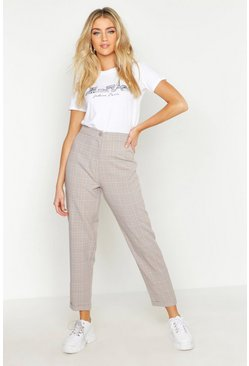 Womens Brown Tonal Checked Slim Fit Trouser