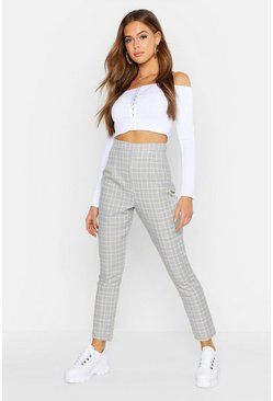 Grey Contrast Checked Tapered Trouser