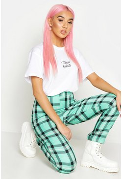 Womens Green Checked Tapered Woven Trouser