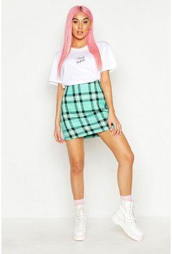 Womens Green Checked Woven A Line Mini Skirt