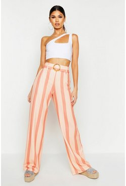 Caramel Wide Leg Tonal Stripe O Ring Trousers