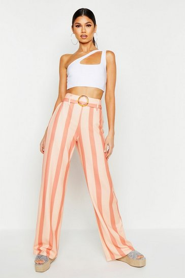 Womens Caramel Wide Leg Tonal Stripe O Ring Trousers