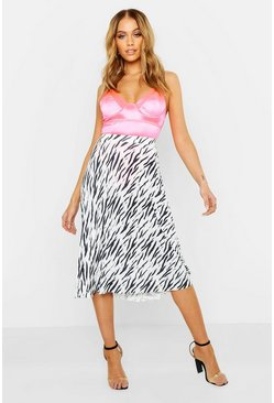 Womens Black Zebra Pleated Midi Skirt