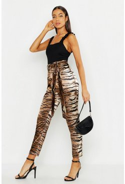Mocha Satin Tiger Print Tie Waist Slim Fit Trousers