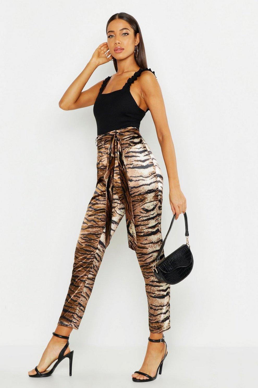 d6b5744ef02f Satin Tiger Print Tie Waist Slim Fit Trousers | Boohoo