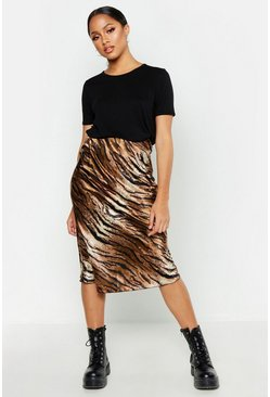 Mocha Satin Tiger Print Bias Midi Skirt
