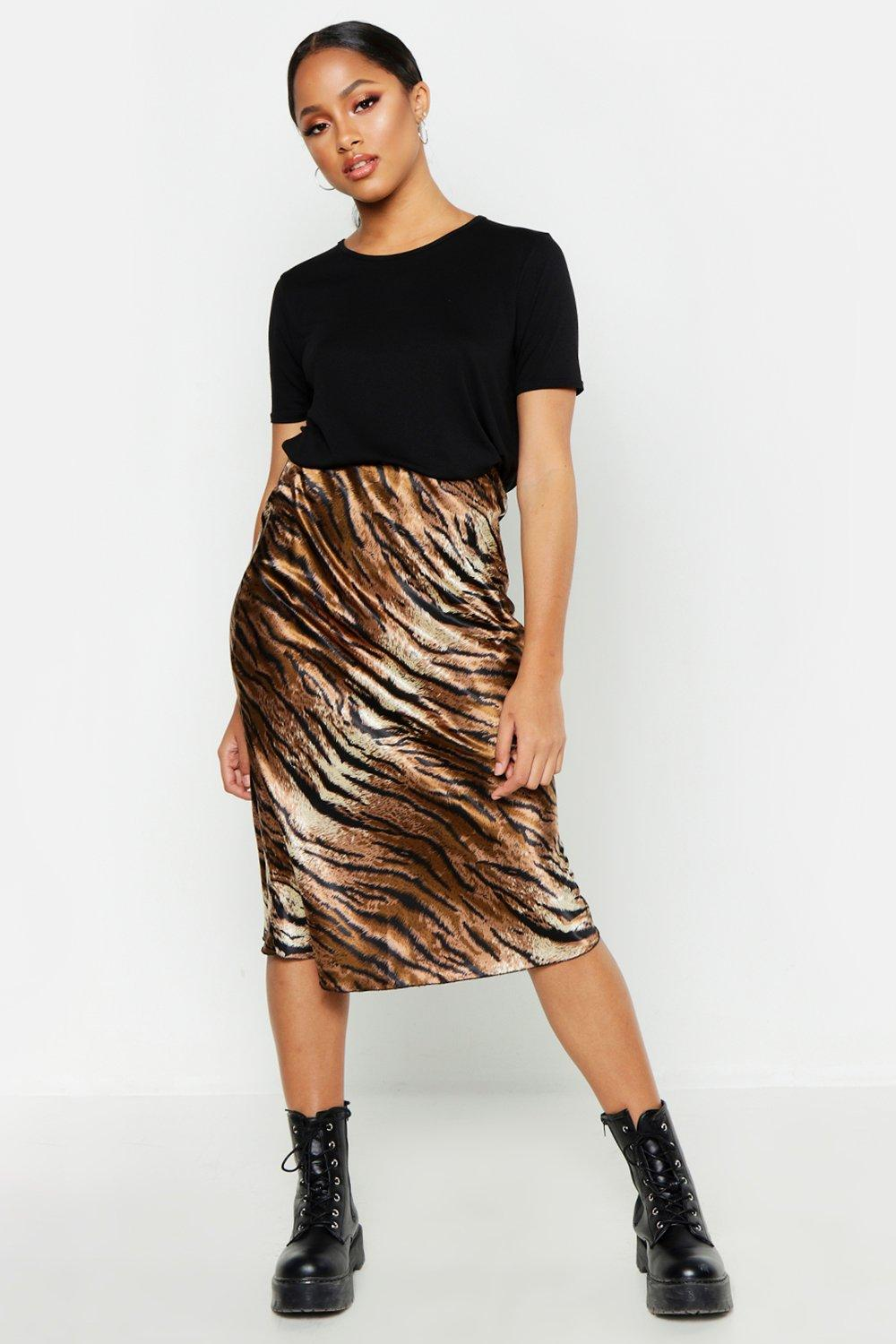 Satin Tiger Print Bias Midi Skirt | Boohoo