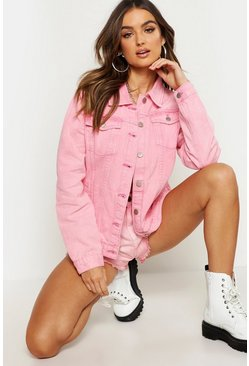Womens Pink Washed Oversized Denim Jacket