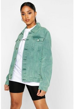 Oversized Jeansjacke in Wash-Optik, Grün, Damen