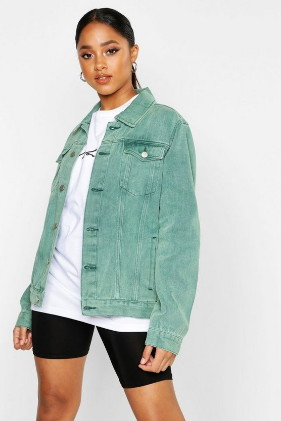 Womens Green Washed Oversized Denim Jacket