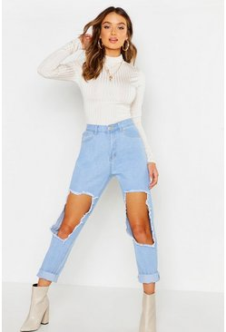 Womens Light blue High Waisted Open Rip Mom Jean