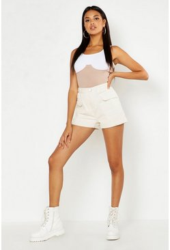 Ecru Utility Pocket High Waist Denim Short