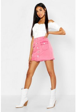 Womens Washed pink Button Front Washed Denim Skirt