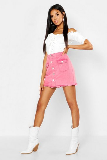 Washed pink Button Front Washed Denim Skirt