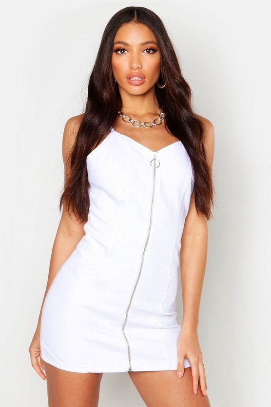 Womens White Strappy Zip Front Denim Micro Mini Bodycon Dress
