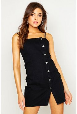 Black Strappy Button Denim Micro Mini Bodycon Dress