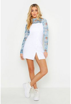 White Strappy Button Denim Micro Mini Bodycon Dress