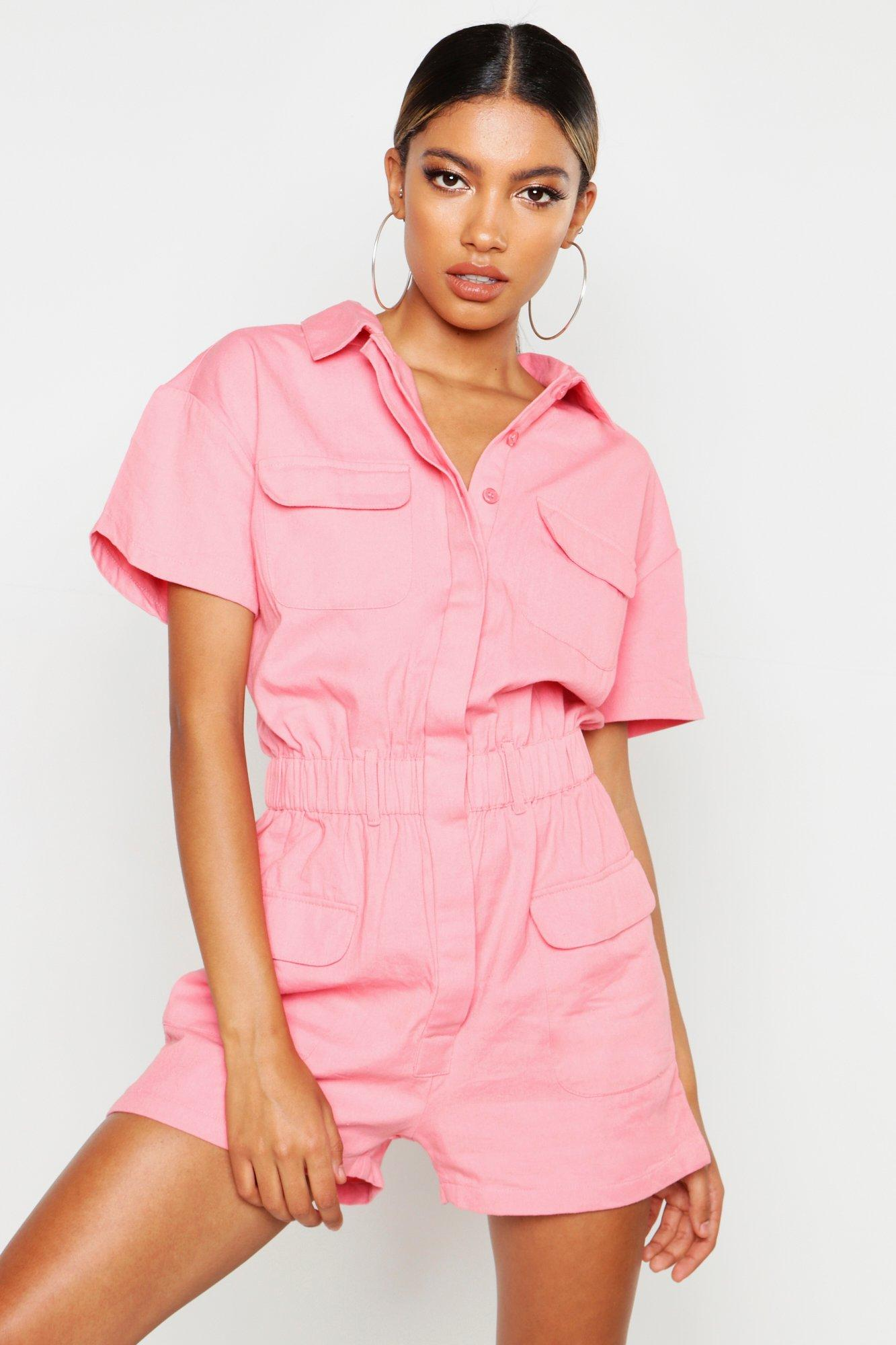 60s Mod Clothing Outfit Ideas Womens Utility Denim Romper - Pink - 12 $27.50 AT vintagedancer.com