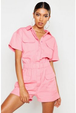 Utility-Playsuit aus Denim, Rosa, Damen