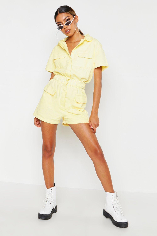 70s Jumpsuit   Disco Jumpsuits, Sequin Rompers Womens Lemon Utility Denim Romper - Yellow - 4 $16.00 AT vintagedancer.com