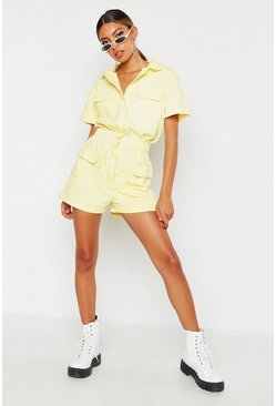 Womens Lemon Utility Denim Romper
