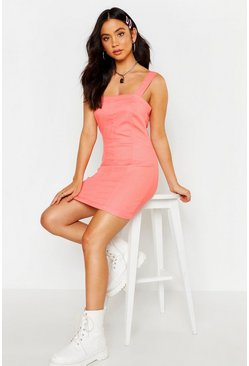 Womens Coral Denim Bodycon Dress