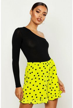 Neon-lime Neon Polka Dot Flippy Shorts