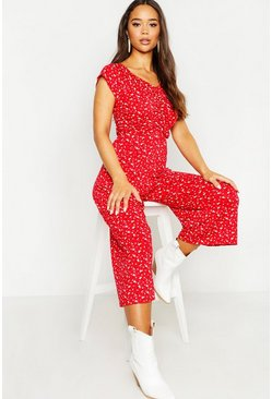 Womens Red Ditsy Floral Sweetheart Culotte Jumpsuit