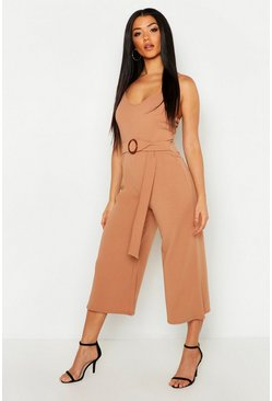 Womens Caramel Horn O Ring Culotte Jumpsuit