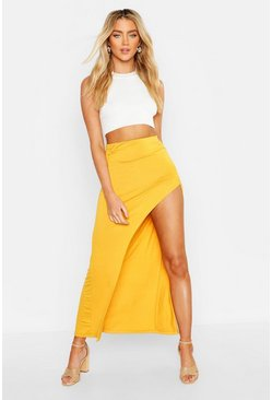 Womens Mustard Rouched Side Extreme Split Maxi