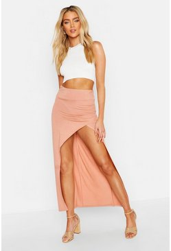 Womens Nude Rouched Side Extreme Split Maxi