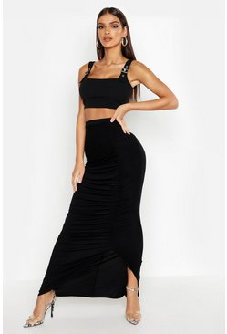 Womens Black Rouched Front Maxi Skirt