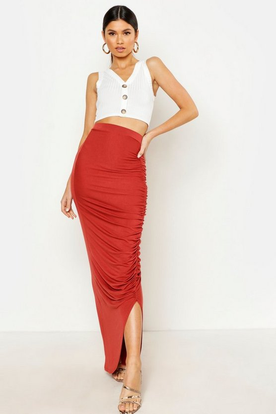 Womens Terracotta Rouched Front Maxi Skirt