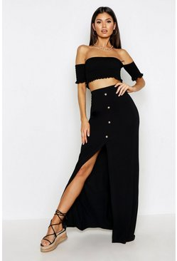 Black Button Front Split Maxi Skirt