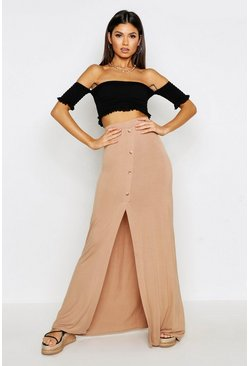 Womens Caramel Button Front Split Maxi Skirt