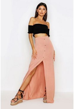 Nude Button Front Split Maxi Skirt
