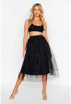 Womens Black Full Tulle Midi Skirt