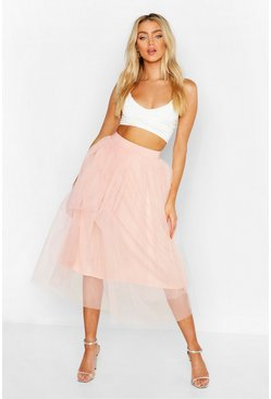 Womens Blush Full Tulle Midi Skirt
