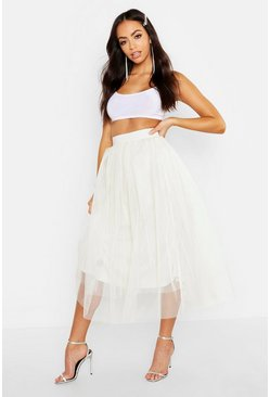Womens Ivory Full Tulle Midi Skirt