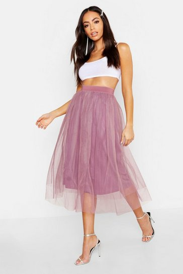 Womens Mauve Full Tulle Midi Skirt