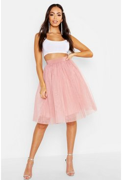 Nude Knee Length Tulle Midi Skirt