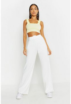 Womens Ivory Belted Wide Leg Trousers