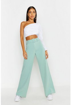 Womens Sage Belted Wide Leg Pants