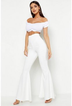 Womens Ivory Extreme Wide Leg Stretch Flare Trousers