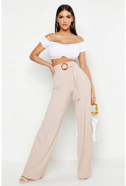 Womens Sand High Waist Horn O Ring Ribbed Wide Leg Trousers