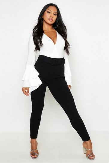 Black High Waist Belted Skinny Stretch Trousers