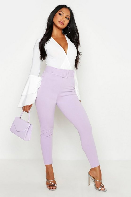 Womens Lilac High Waist Belted Skinny Stretch Trousers