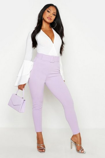 Lilac High Waist Belted Skinny Stretch Trousers