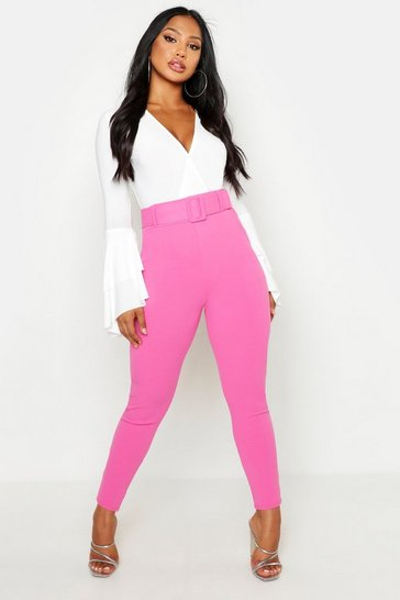 Womens Pink High Waist Belted Skinny Stretch Trousers